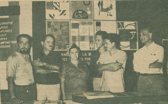 Six of the Cuban group Diez Pintores Concretos, from left to right: Salvador Corratgé, Luis D. Martinez Pedro, Loló Soldevilla, Pedro de Oraá, Jose  Angel Rosabal, and Sandú Darié.