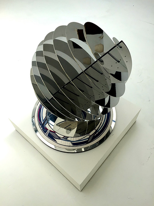Blair Martin Cahill, Sphere 24, Polished Metal with Inlay of Embroidery on Silk, 29 h X 28 d X 28 w in.