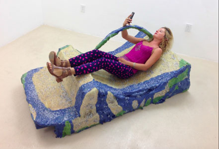 Jillian Mayer, Slumpie 2- Day Bed, on view at PAMM, 1103 Biscayne Boulevard.