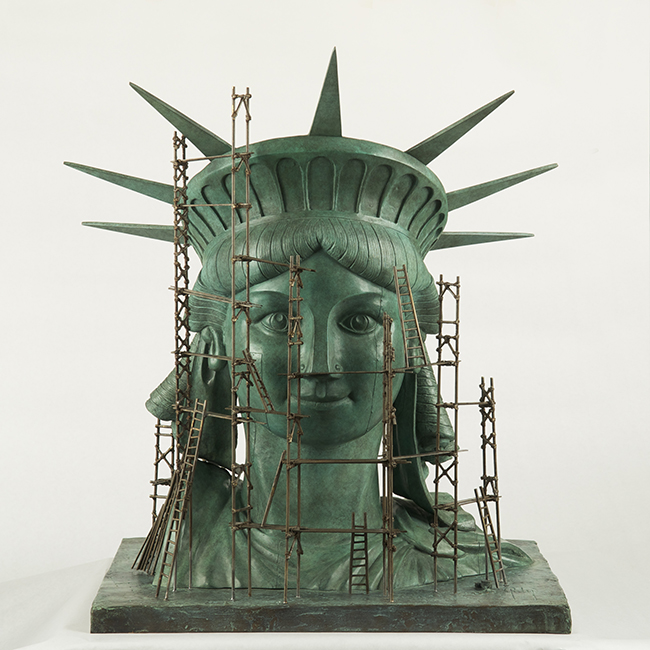 Alain Godon, Face Lift, Bronze sculpture, 23 x 16 x 18 in. Ed. of 8