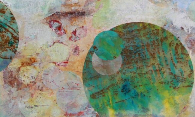 """Detail of """"Le temps à peine,"""" 2015, mixed media on canvas, 36 x 60 in."""
