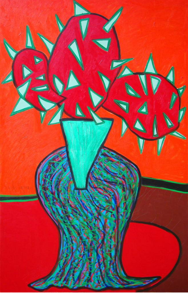 """Cactus Lover Mixed Media on Canvas 67"""" x 47"""""""