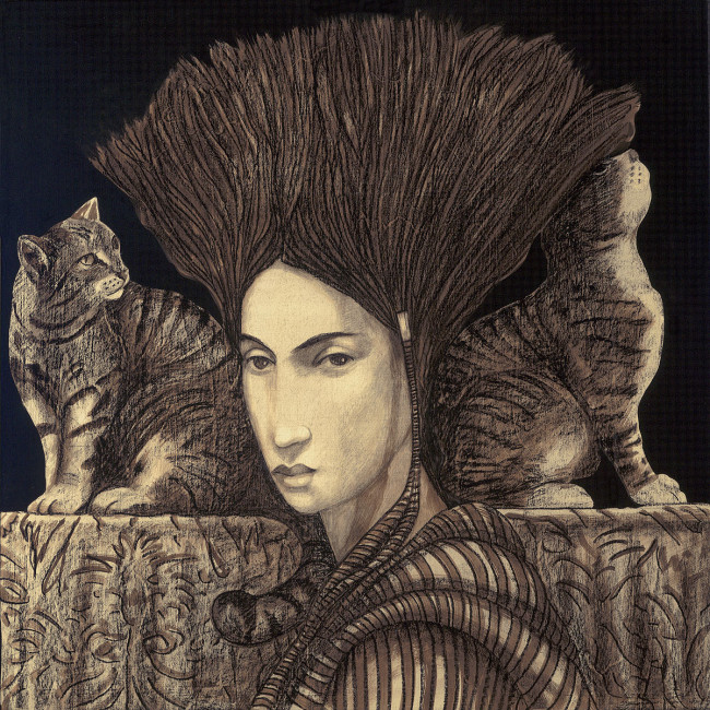 Gino Donvito, Donna con Gatti, 2015, Mixed media on wood, 30 x 30 in.