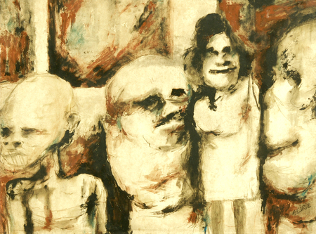 Antonia Eiriz, Mis Vecinas, ca. 1960, mixed media on paper laid down on canvas, 24 3/8 x 17 3/4 inches