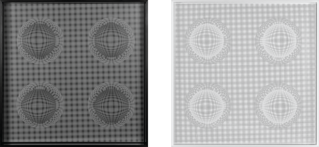 Left:4 Esferas Estelares (Negro), 2015, Acrylic Chromatography 24 × 24 in, 61 × 61 cm. RIght: 4 Esferas Estelares (Blanco), 2015, Acrylic Chromatography 24 × 24 in, 61 × 61 cm