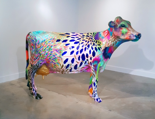 "Daniela Arboleda, La Vaca, 2016, Automotive paint on fiberglass, 64"" x 86 x 26 in."