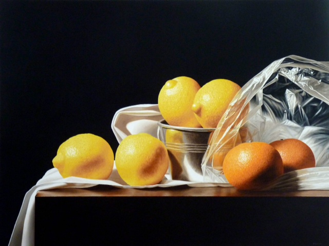 Renato Meziat, Lemons and Tangerines, Oil on Canvas, 2013, 29.5 x 39.5 in.