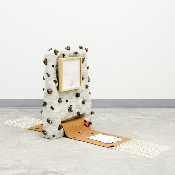 Linda Lopez, Untitled, 2016. Ceramic, ink, and gouache on paper, frame, cotton gloves, and custom XyZ Coop rug, 27 x 22 1/2 x 58 in.