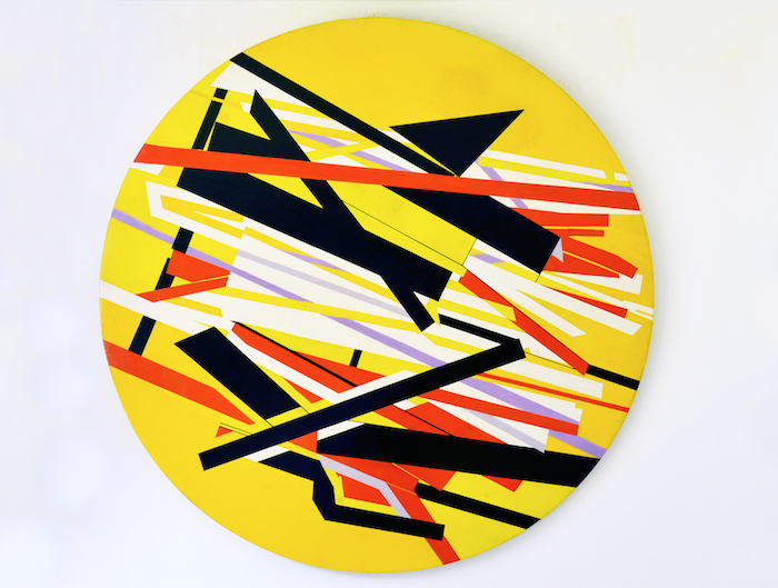 Luis Guevara Moreno, Untitled, Undated (estimated to be 1950's to 1960's), Paint over wood. Rotating piece. 59 in. diameter