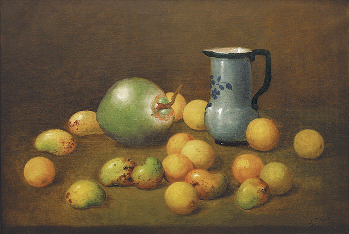 Juan Gil García , Mangos, Coco y Jarrón (Mangos, Coconut, and Carafe,  1925,  oil on canvas, 25 1/2 x 37 1/2 inches