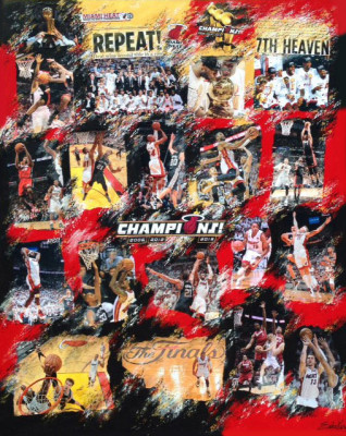 Erika King, Miami Heat NBA Championship 2013, Collage on Canvas, 48 x 60 in.