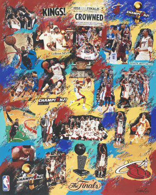 Erika King, Miami Heat NBA Championship 2012, Collage on Canvas, 48 x 60 in.