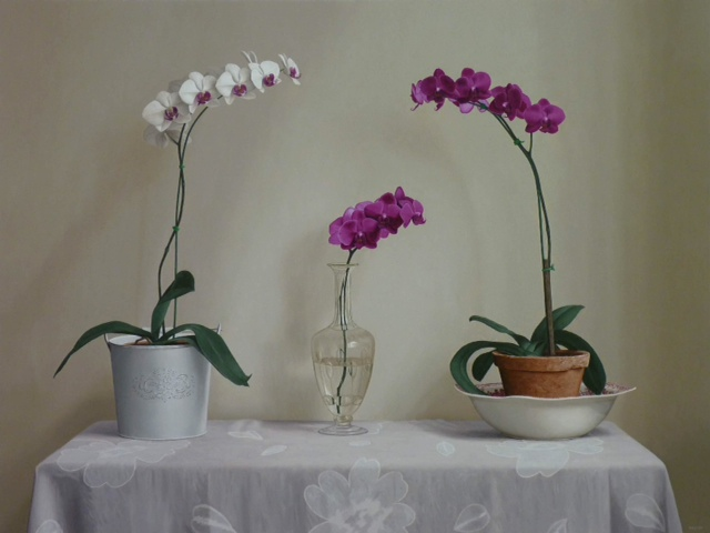 Renato Meziat, Orchids on a Table, Oil on Canvas, 2013, 34 x 46 in.