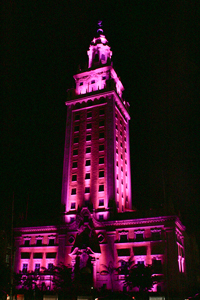 The Freedom Tower at Miami Dade College. Designed by Schultze and Weaver, 1925. Originally constructed as the home for The Miami News, MDC's Freedom Tower is a beautiful example of Mediterranean Revival Style with design elements borrowed from the Giralda Tower of the Cathedral of Seville. Courtesy of MDC Museum of Art + Design.