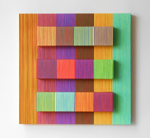 Reymond Romero, Polychromy, 2015,Textile and mixed media on canvas, 24 x 24 in.