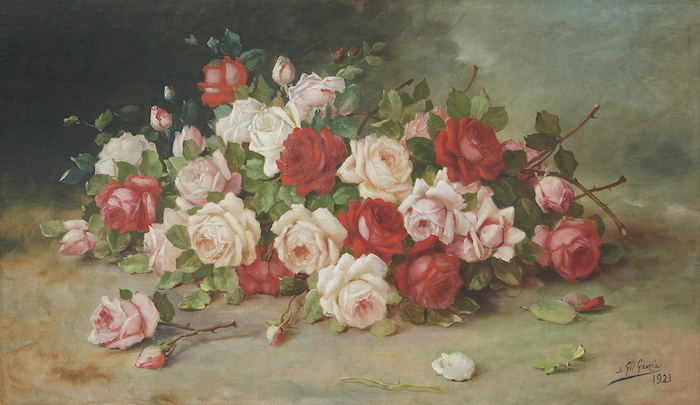 Juan Gil García,  Rosas (Roses),  1921 , oil on canvas , 23 5/8 x 39 3/8 inches