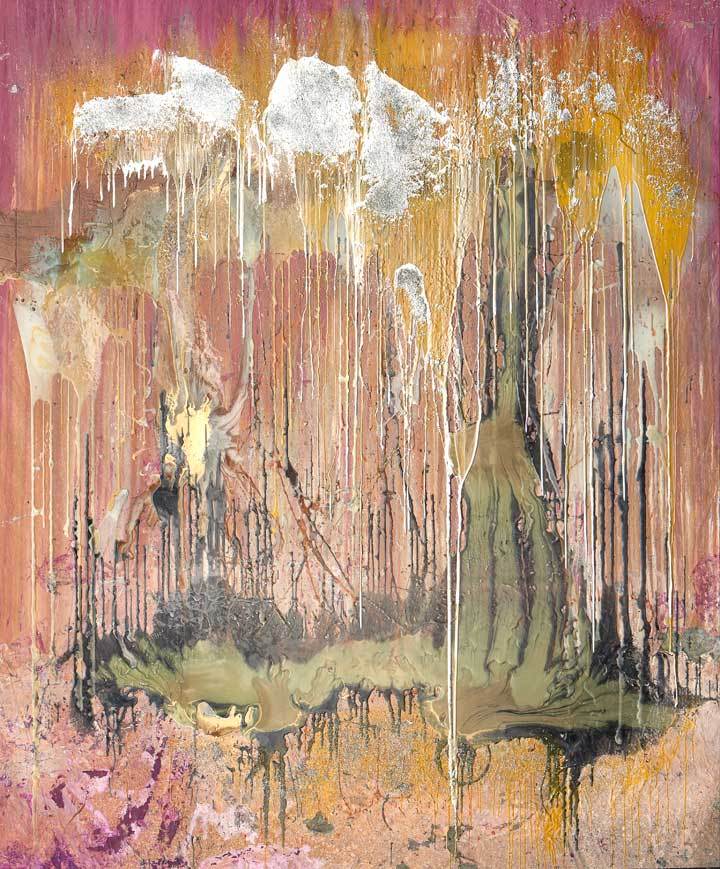 Alejandro Contreras, Fire Stinguisher, 2013, paint with pigmented resin and mixed media on canvas, 104 x 86 in