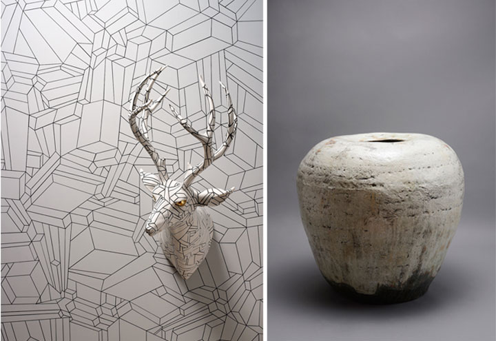 Ree Soo-Jong, Bunchung Jar with Iron-Brown Drawing, Buncheong ware, 32 x 32 x 48 cm  Minkyu Lee, Hidden Structure Revealed, 2013, Glazed porcelain, multi-fired, 4.5 x 5 x 5 in.