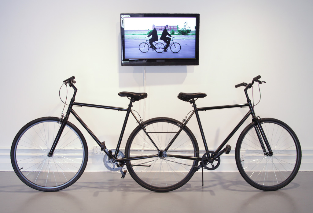 G.A.S., Pushmi-Pullyu: The Collaborative Cycle, 2013, Welded customized bicycles and video, Dimensions variable,