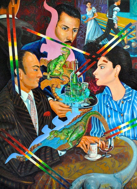 Jose Rodeiro. Out on the Town. 2004, Oil on linen, 38 x 51 in. Cintas Fellows Collection. Gift of the artist.>