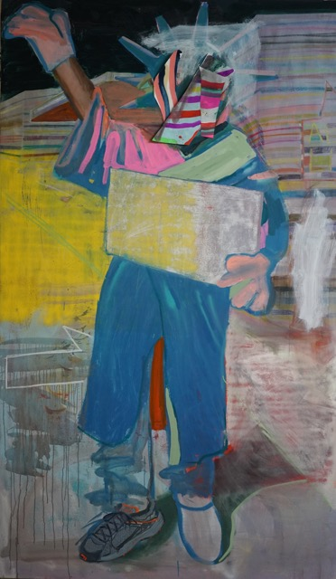 Ezra Johnson, Statue of Liberty Guy, 2015, Oil on canvas, 48 x 72 in. Oil on canvas